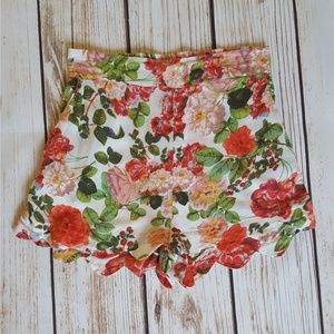 Floral MINKPINK High Waist Scalloped Shorts Small